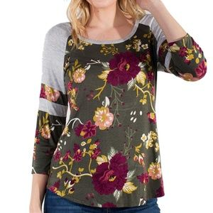 Floral Printed Baseball Tee with Shirttail NWT